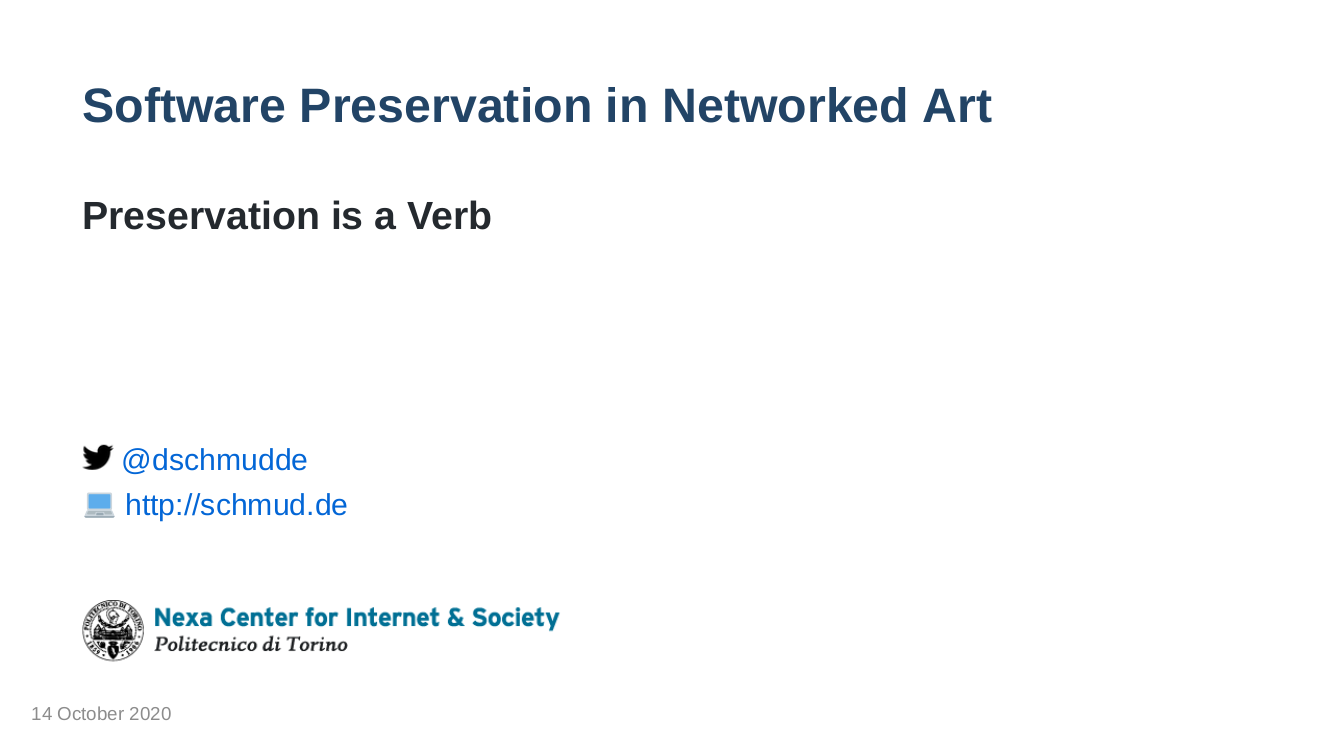 Software Preservation in Networked Art slides